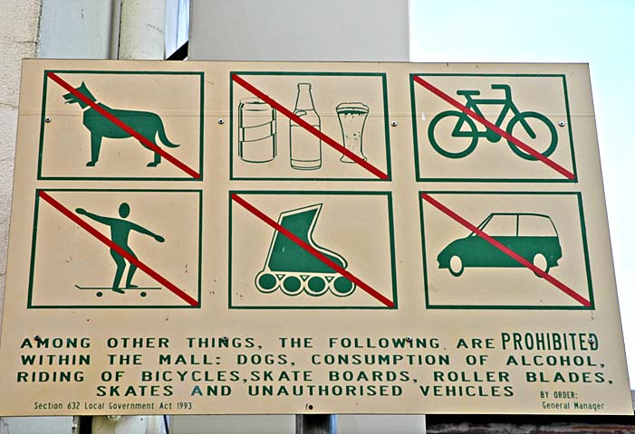 Prohibited in the mall are ...