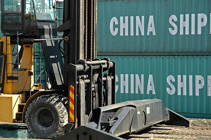 Shipping containers in railway yard