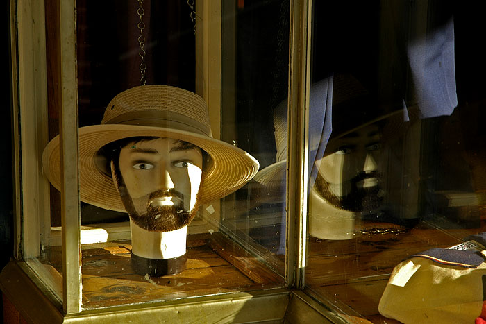 Dummy with hat; and reflection