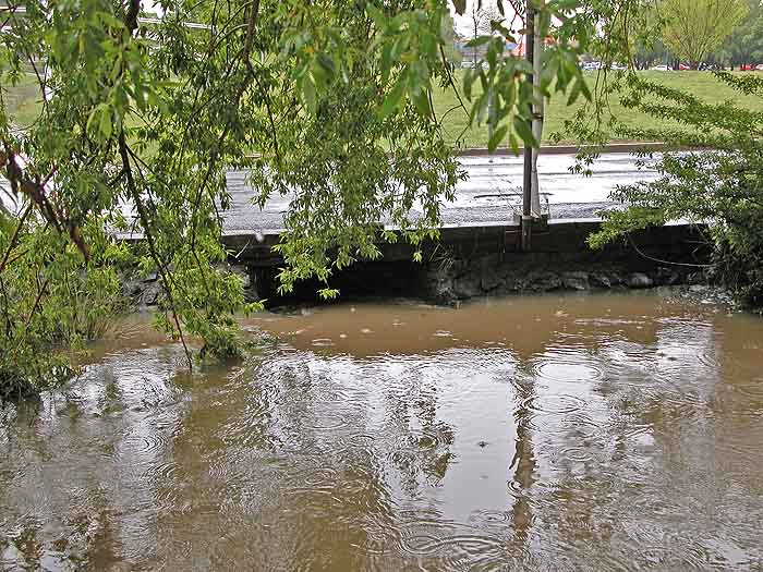 Creek with water level higher than previous day