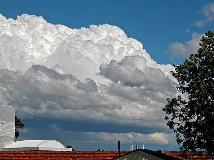 Clouds over buildings