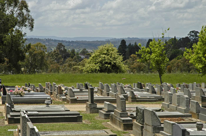 Cemetery on hill above town