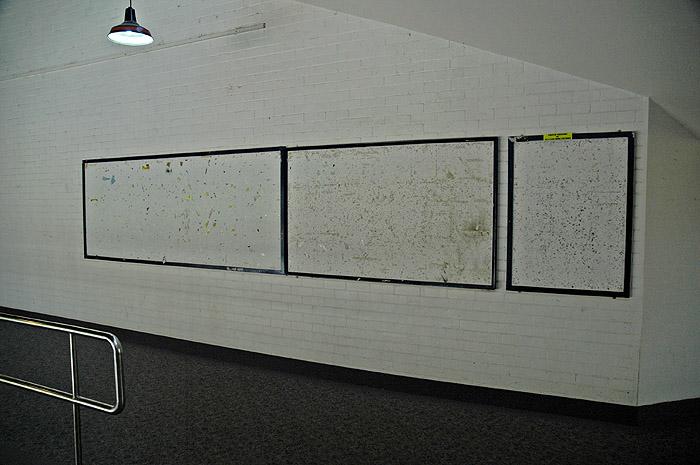 Empty noticeboards