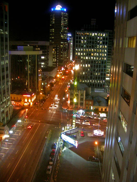 In central Auckland at night