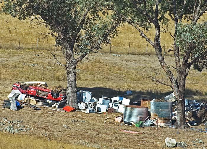 Rubbish dump on a local farm