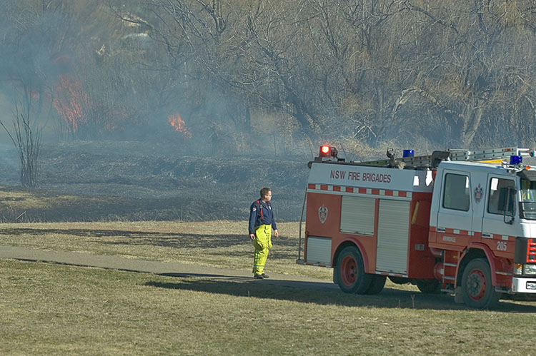 Grass fire by the creek