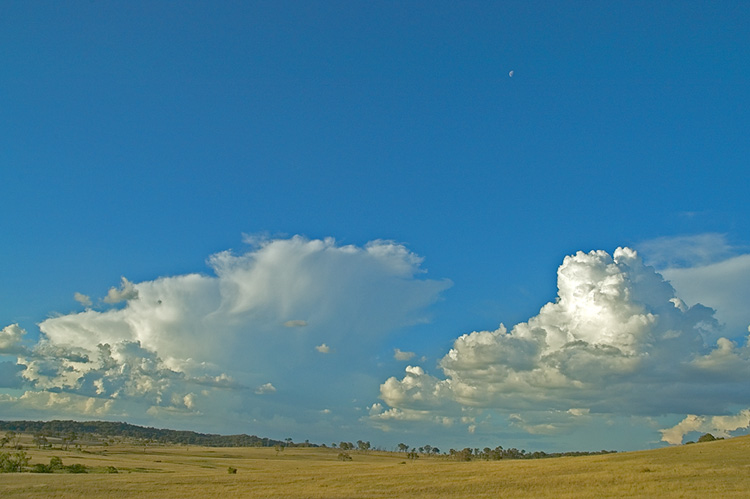 Big blue sky above dry countryside