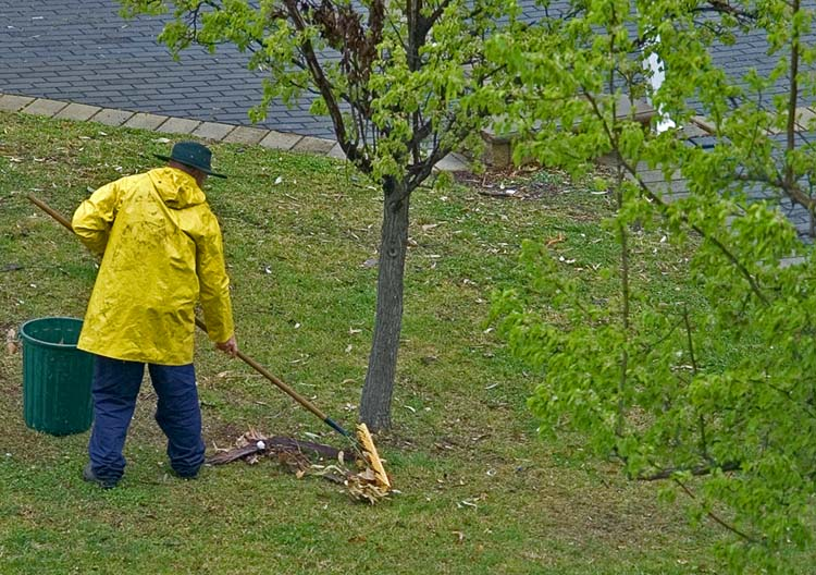 Raking leaves in yellow raingear