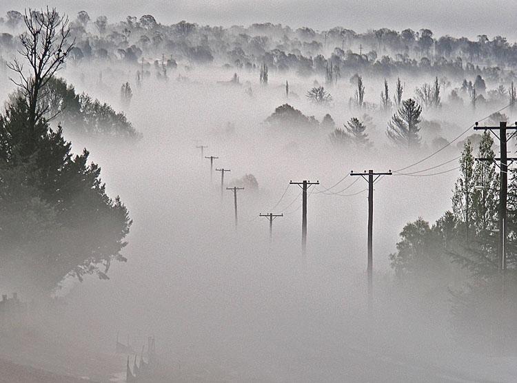 Mist after hailstorm