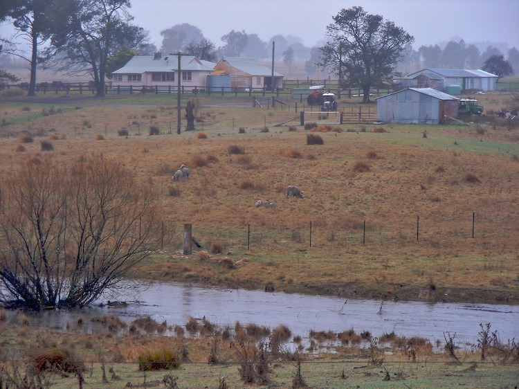 Farm and flooded creek